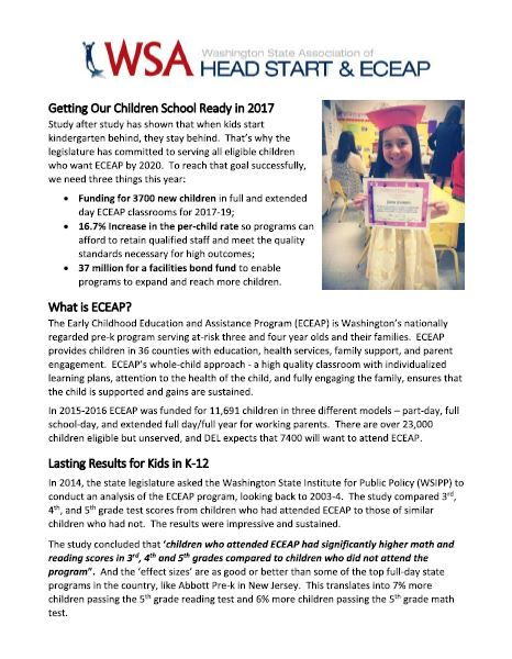 ECEAP Fact Sheet and Advocacy Goals